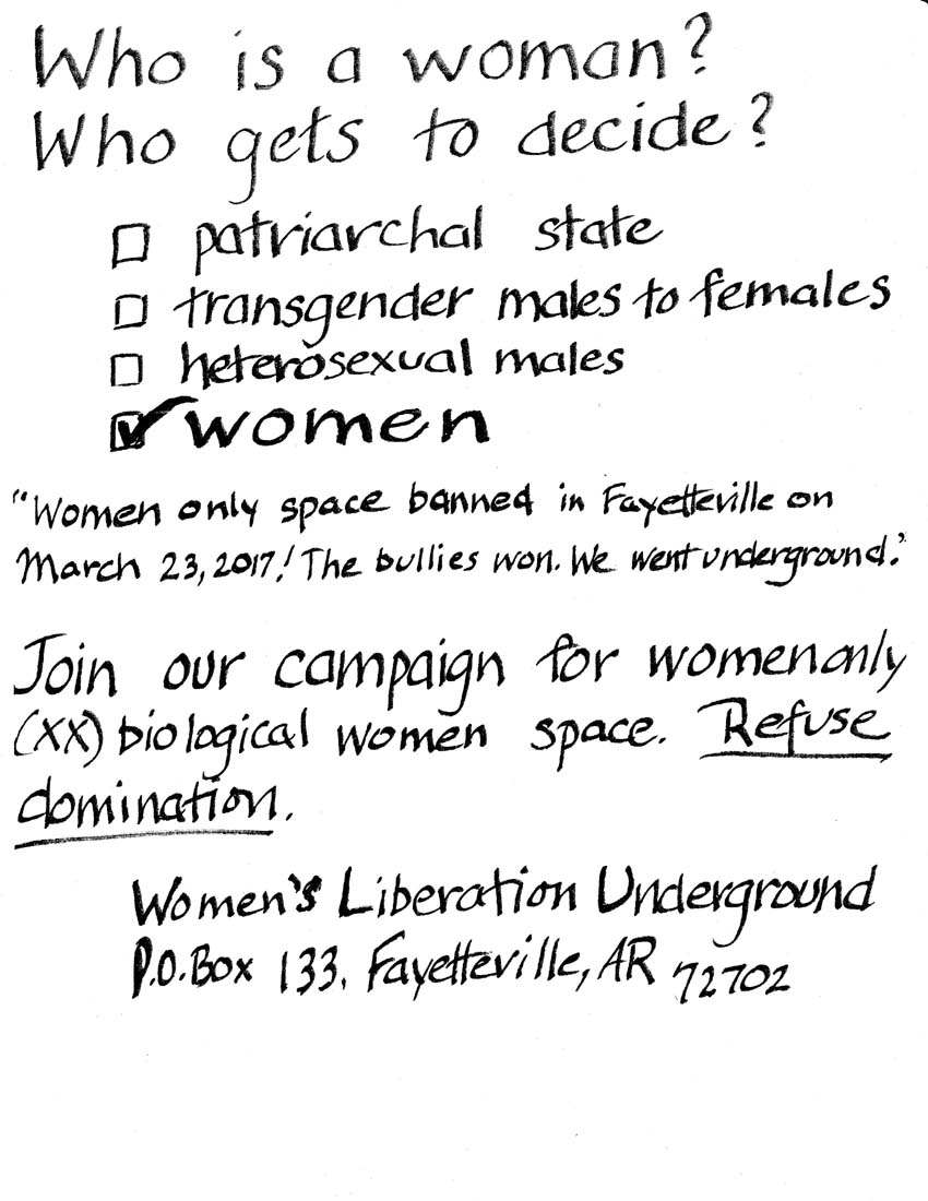 Women's Liberation Underground flyer: Who is a woman? Who gets to decide?